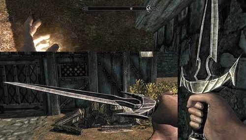 Одноручное оружие за спиной в Skyrim + правильное положение колчанов